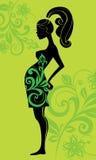 femme enceinte de silhouette Images libres de droits