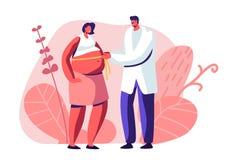 Femme enceinte ? docteur Appointment dans la clinique E r illustration de vecteur