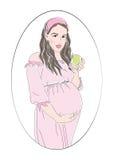 Femme enceinte en cercle Image libre de droits