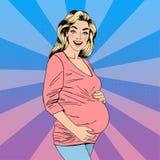 Femme enceinte Femme heureux Joie de maternité Bébé de attente illustration libre de droits