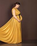 Femme enceinte heureuse dans la belle longue robe Image libre de droits