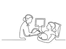 Femme enceinte s'occupant d'un docteur pour l'ultrason illustration libre de droits