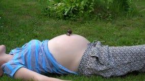 Femme enceinte se trouvant sur l'herbe avec le grand escargot rampant sur son ventre banque de vidéos