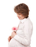 Femme enceinte sur le fond blanc (d'isolement) photo stock
