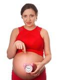 Femme enceinte tenant le réveil comptant livrer bientôt Photographie stock