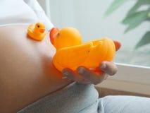 Femme enceinte tenant peu de canard de poupée dans la remise le ventre Photo stock