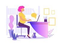 Femme enceinte travaillant dans le vecteur de bureau cartoon Art d'isolement sur le fond blanc plat illustration de vecteur