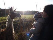 Femme, enfant et lama un jour ensoleillé dans la campagne Images stock