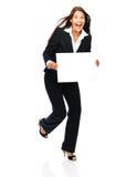 Femme enthousiaste d'affaires tenant le signe Photographie stock