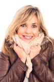 Femme enthousiaste dans la jupe de l'hiver Photos libres de droits
