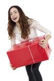 Femme enthousiaste de client avec un boîte-cadeau Photographie stock