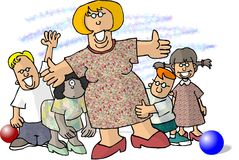 Femme entouré par de petits enfants Photo stock