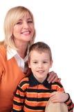 Femme entre deux âges avec le garçon Images libres de droits
