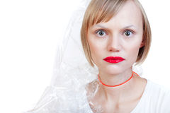 Femme enveloppée vers le haut photographie stock libre de droits