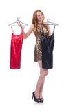 Femme essayant le nouvel habillement Photos stock