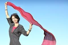 Femme et écharpe Image stock