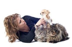 Femme et animal familier Photographie stock libre de droits