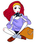 Femme et appareil photo numérique Images stock