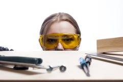 Femme et bureau de travail Photo stock