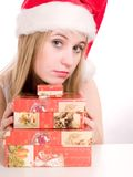 Femme et cadre de Noël. Photos libres de droits