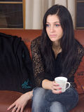 Femme et café Photos stock
