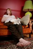 Femme et chat Image libre de droits