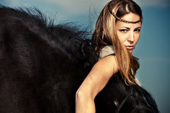 Femme et cheval Image libre de droits