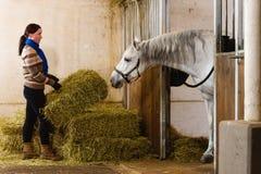 Femme et cheval photographie stock