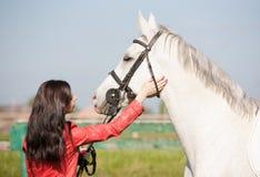 Femme et cheval Veste en cuir haute de portrait et rouge étroite Photo libre de droits