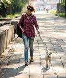 Femme et chien Images libres de droits