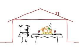 Femme et dîner à la maison illustration stock