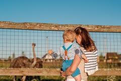 Femme et enfant à la ferme regardant l'autruche Photo libre de droits