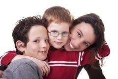 Femme et enfants heureux photos stock
