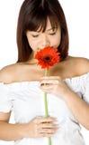 Femme et fleur Photo stock