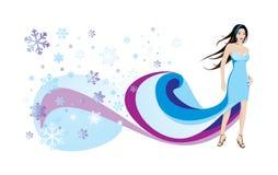 Femme et flocons de neige Photos libres de droits