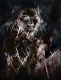Femme et fond abstrait effet de fractale Images libres de droits