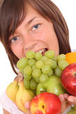 Femme et fruits images stock