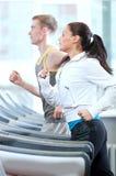 Femme et homme à l'exercice de gymnastique Images libres de droits