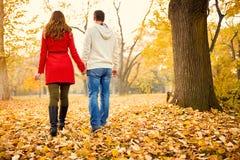 Femme et homme arrières de vue dans l'amour en parc Images libres de droits