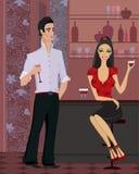 Femme et homme au bar Images stock