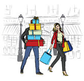 Femme et homme avec des sacs à provisions illustration de vecteur