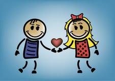 Femme et homme avec un coeur Images libres de droits