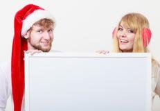 Femme et homme de couples avec la bannière vide Copiez l'espace Photographie stock
