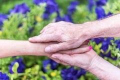Femme et homme tenant des mains Photos stock