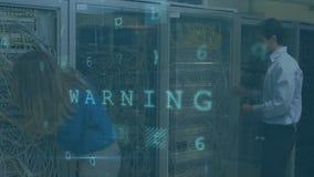 Femme et homme travaillant dans une salle de serveurs pendant que les messages de sécurité se déplacent au premier plan illustration stock
