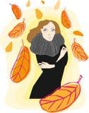 Femme et lames d'automne image stock