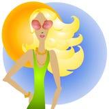 Femme et lunettes de soleil blondes Photographie stock