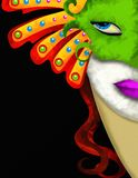 Femme et masque vert de carnaval Images libres de droits