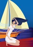 Femme et mer illustration de vecteur
