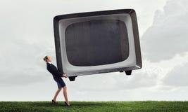 Femme et moniteur de TV Media mélangé Image libre de droits